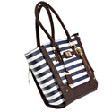 Tote Style Nylon Purse with Holster - Navy Stripe