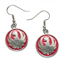Pewter Red Earrings