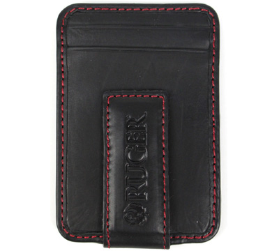Magnetic Money Clip/Front Pocket Wallet - Black/Red Stitching