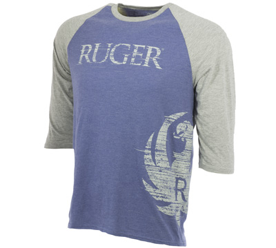 Side Wrap 3/4 Raglan Tee - Heather Blue