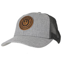 Gray Trucker Cap - Leather Patch