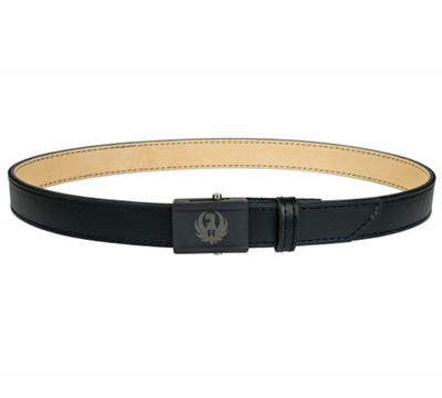 Black Leather Belt with Black Etched Buckle