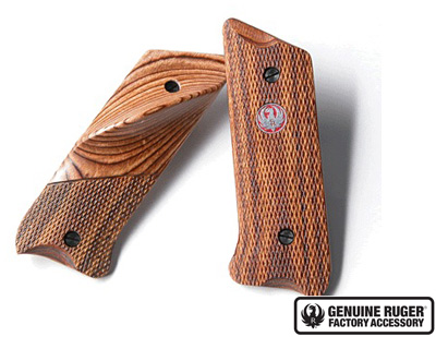 Mark II� Checkered Wood Laminate Grips - Left Handed